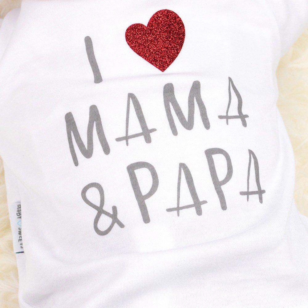 62 Motiv: I Love Mama /& Papa f/ür Neugeborene /& Kleinkinder Hose wei/ß-grau Baby Sweets 2er Babyset Erstausstattung Shirt Gr/ö/ße: 3 Monate