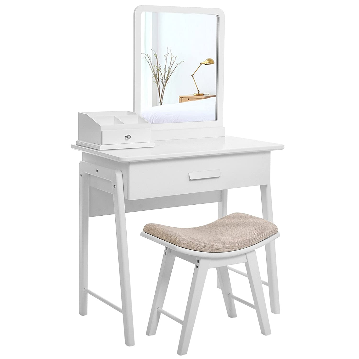 best service 0a0e6 7a5a8 SONGMICS Simple Makeup Dressing Table Vanity Set with Square Mirror and  Concave Cushioned Stool Bonus Makeup Organiser 1 Large Drawer with Sliding  ...