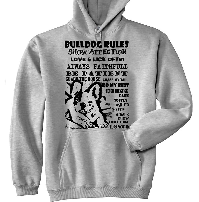 Teesquare1st Men's FRENCH BULLDOG DOG RULES PB 9 Grey Hoodie