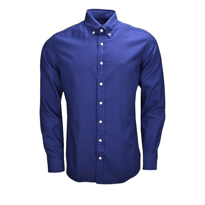 Hackett London GMT Dyed Oxford SL-Camisa Hombre Azul XXXL: Amazon ...