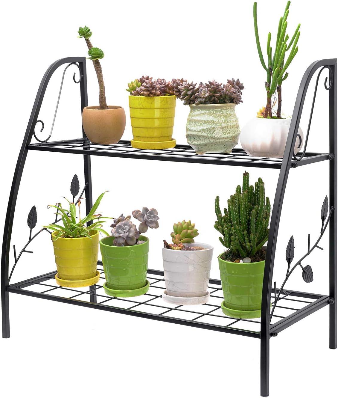 SONGXIN 2-Tier Metal Plant Stand - Plant Flower Display Rack Stand Shelf Multifunction Storage Flower Pot Holder Organizer Rack for Indoor/Outdoor Patio Garden Balcony Yard