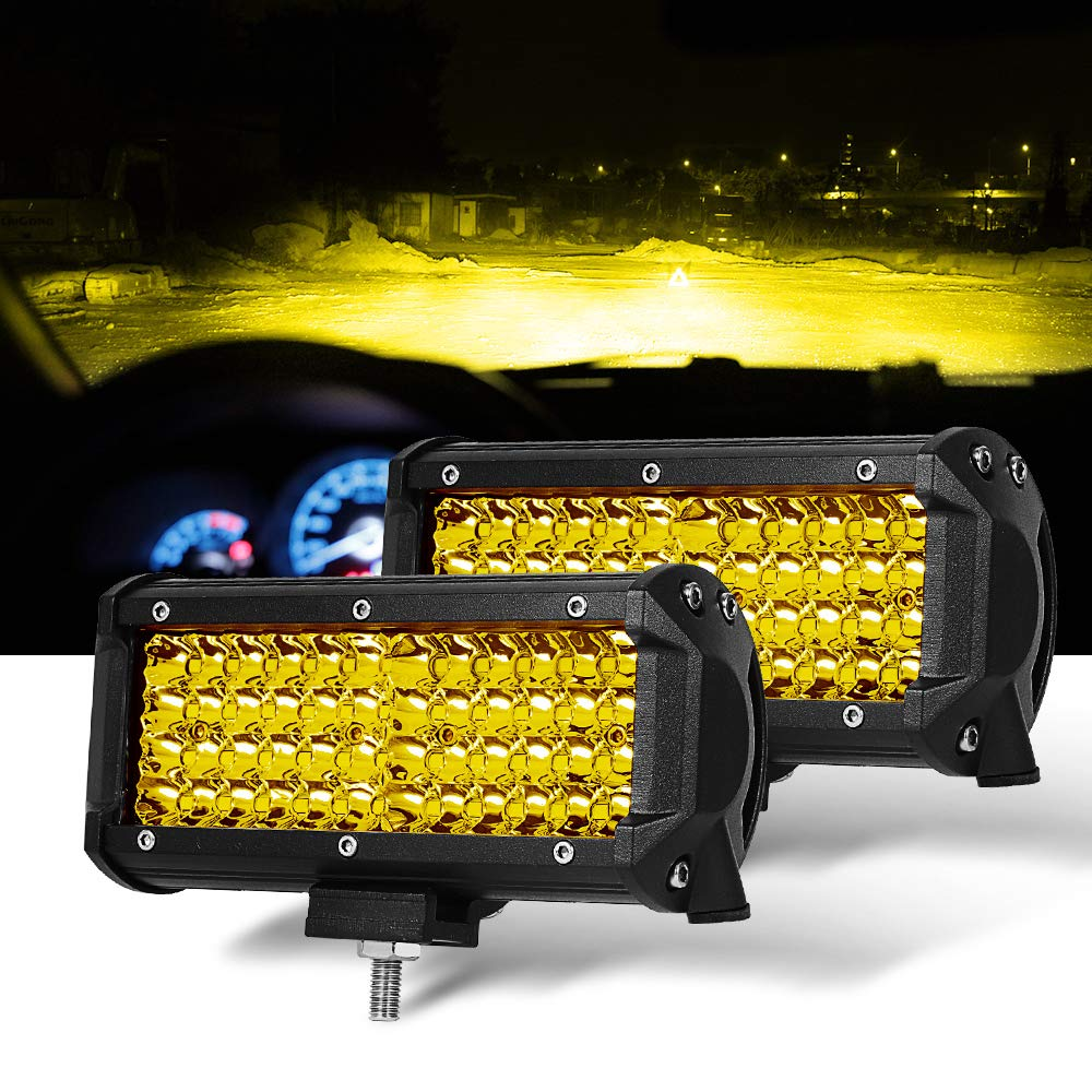 "Samman- 7 "" 2PC Yellow Spot Beam LED Light Bar for Jeep Offroad Truck ATV UTV SUV Wrangler Boat Marine"