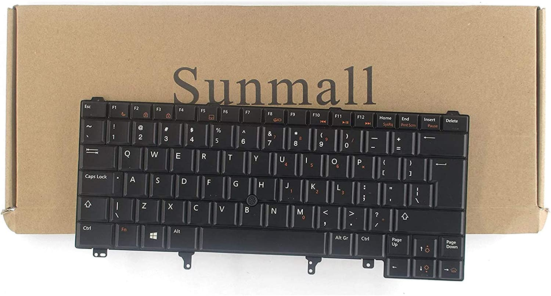 Sunmall Replacement Keyboard with Backlit/Big Enter Key Compatible with Dell Latitude E5420 E5430 E6220 E6320 E6330 E6420 E6430 E6440 Series US Layout Black (with Pointer Stick)