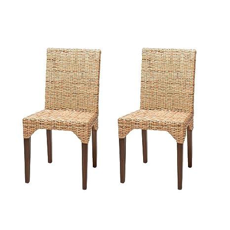 Rebajas : -54% Lote de 2 sillas de Ratan de Comedor Vitor, Baratas