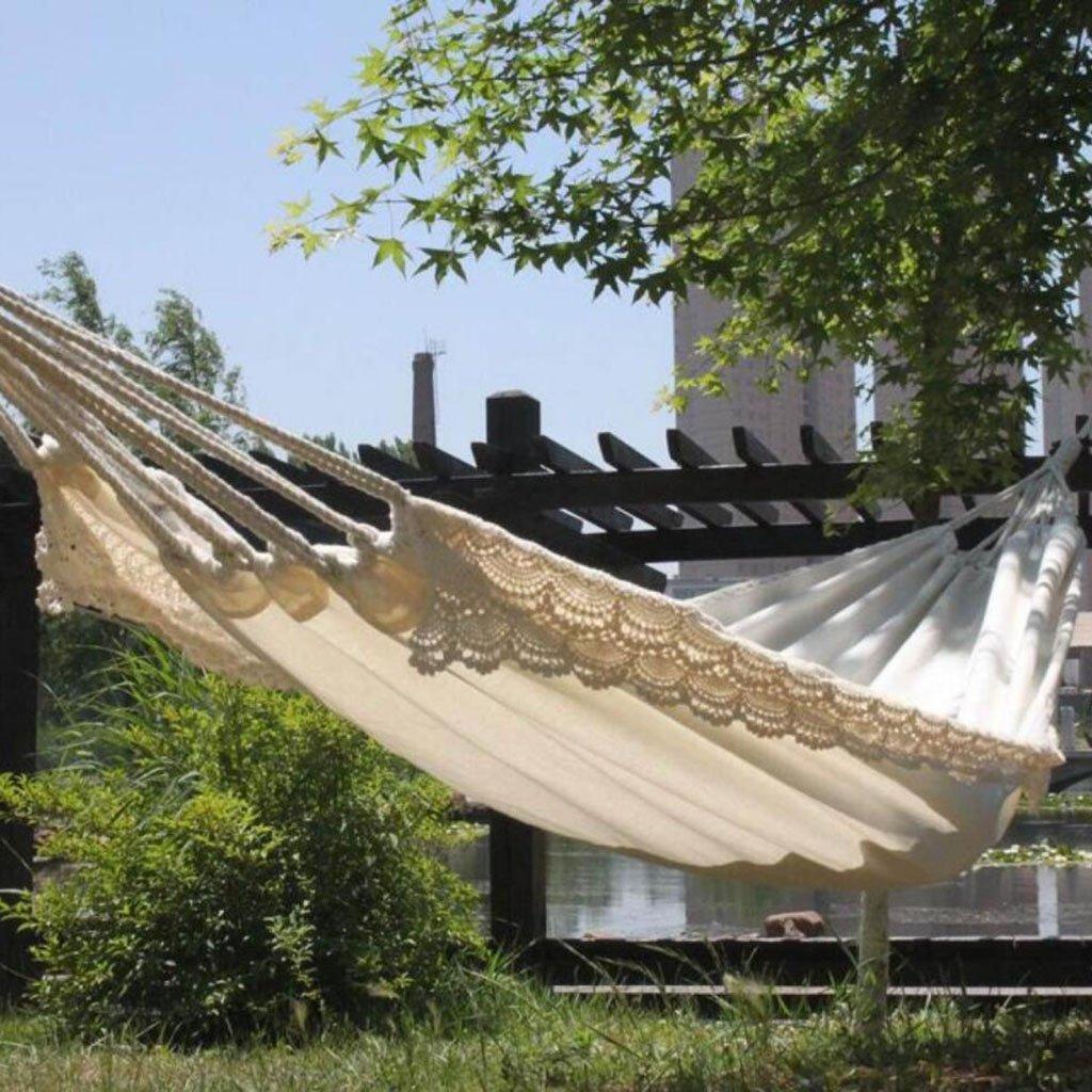 PPGE Weiße Hängematte, Leinwand Baumwollspitze Outdoor-Freizeit Camping Fotografie Hängematte Kinderschaukel, 79  32 Zoll