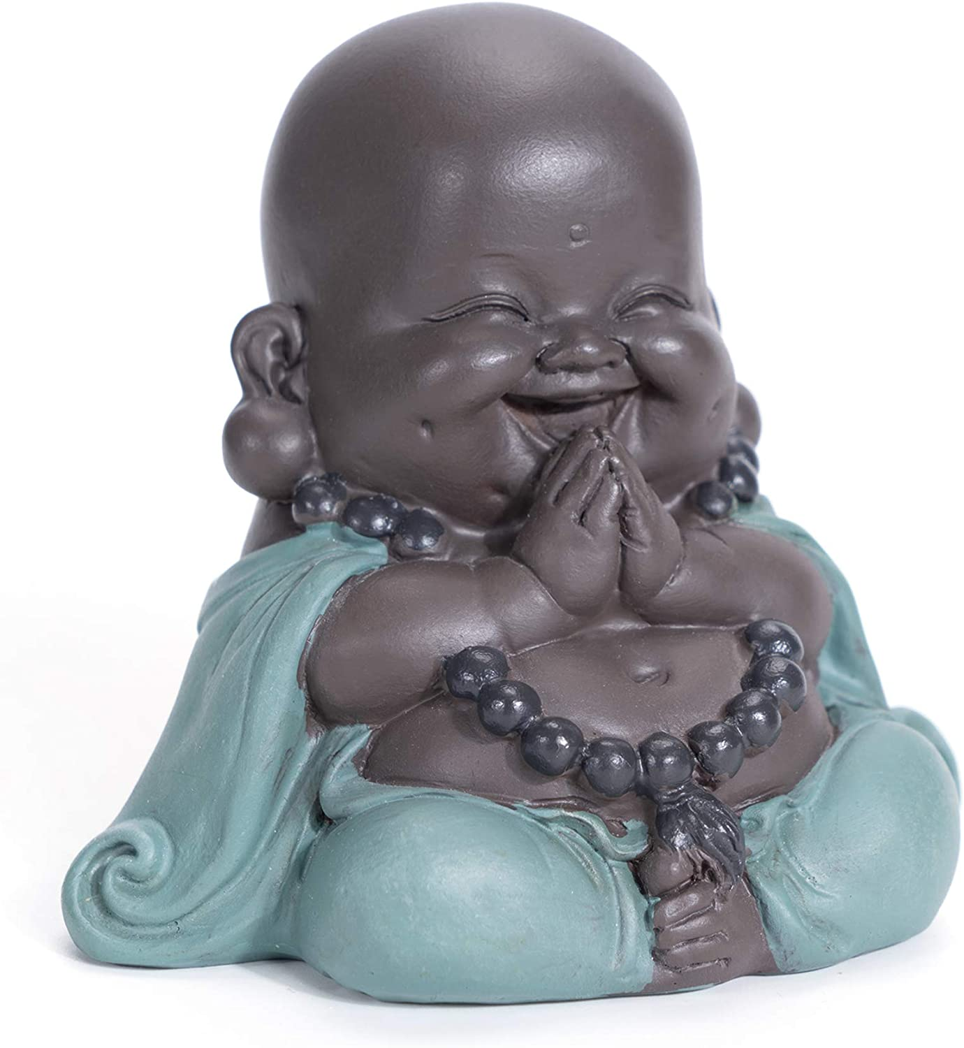 WGFKVAS Buddha Statue, Laughing Buddha Smiling Little Buddha Ceramic Buda Statue Little Monk Figurine Cute Baby Buddha for Home Office Car Decors Gift Crafts and Arts (Green)