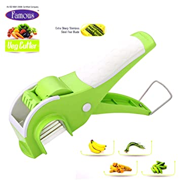 Famous Veg Cutter Sharp Stainless Steel 5 Blade Vegetable Cutter with Locking System Graters & Slicers at amazon