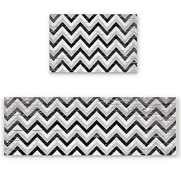Laundry Room Runner Black White Wave Pattern Rug Nonslip Rubber Rug Kitchen Mat