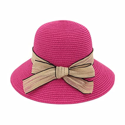 LOF-fei Mujer Verano Sombrero para el Sol Playa de Pescadores de Mariposas  ala Ancha Pescador Sombrero de Paja 0ded64d729e