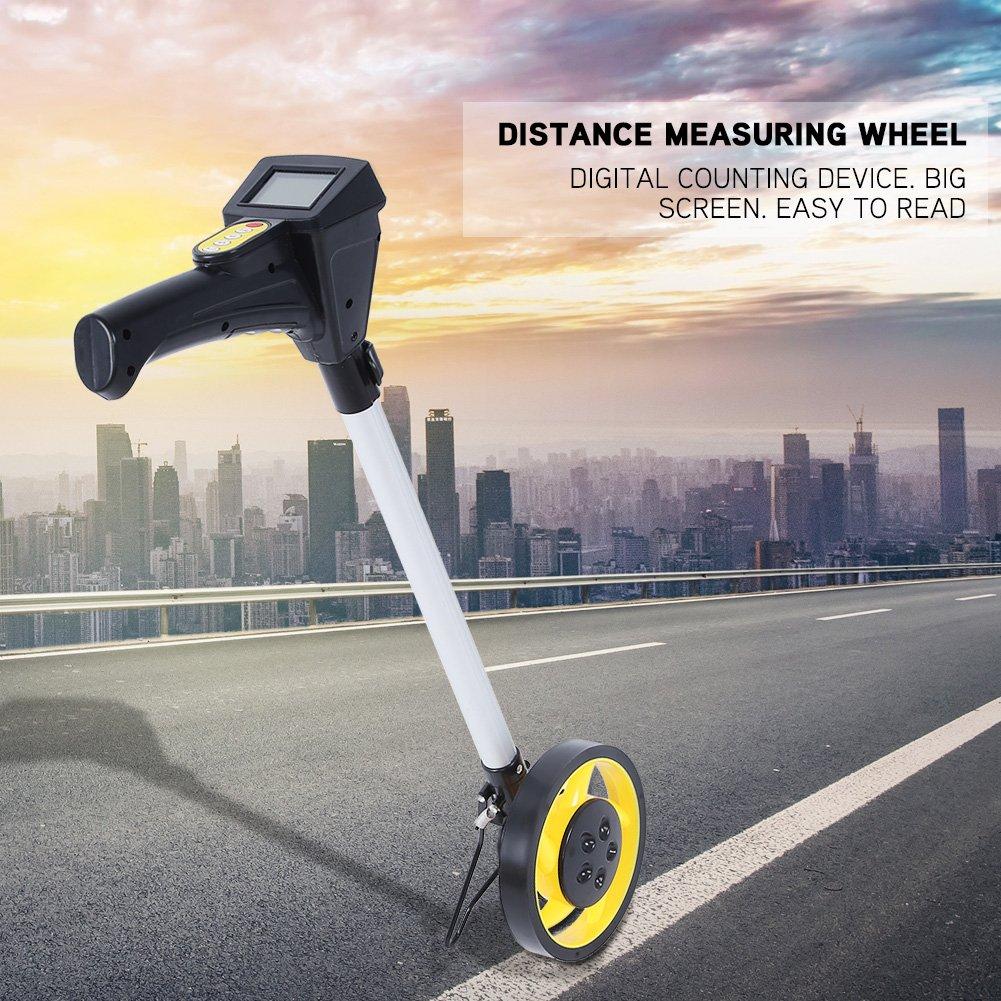 Rueda medidora digital plegable con soporte de apoyo para trabajos de construcci/ón de carreteras