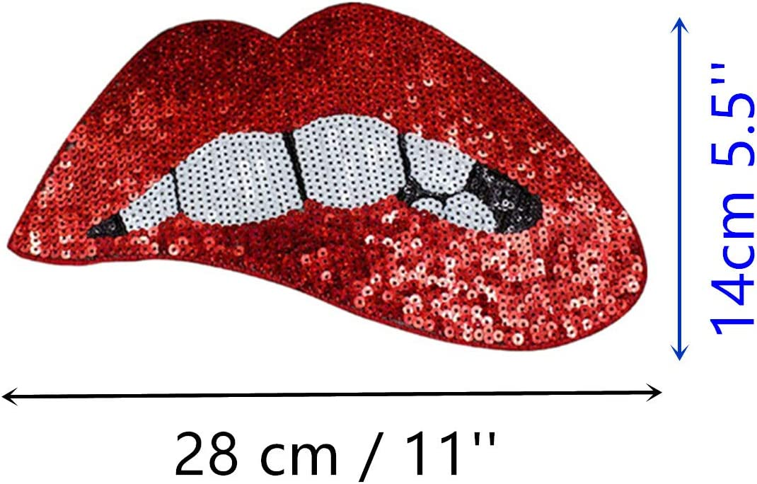 MIAO JIN 8 Pcs Red Lips Shape Embroidery Patches Red Sequins Lips Punk Patches for Garment Accessory /& DIY Motif Applique Red