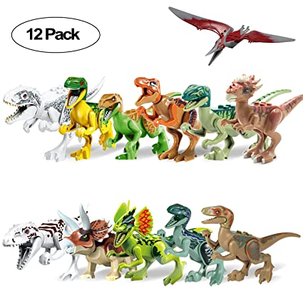 Animals & Dinosaurs Dinosaur Building Blocks 12pcs Movable Head Mouth And Hands Dinosaur Play Figure Toys & Hobbies
