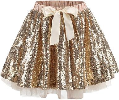 Niños Niñas Tutu Mini Falda de Lentejuelas Bowknot Princess Fancy ...
