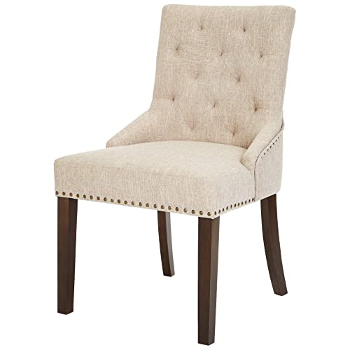 Red Hook Martil Tufted Upholstered Dining Chair with Nailhead Trim – Set of 2, Biscuit Beige