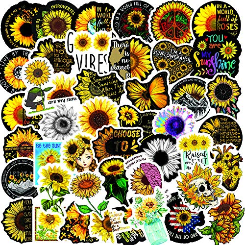 🥇 Sunflower Stickers| 50 PCS |Vinyl Waterproof Stickers for Laptop