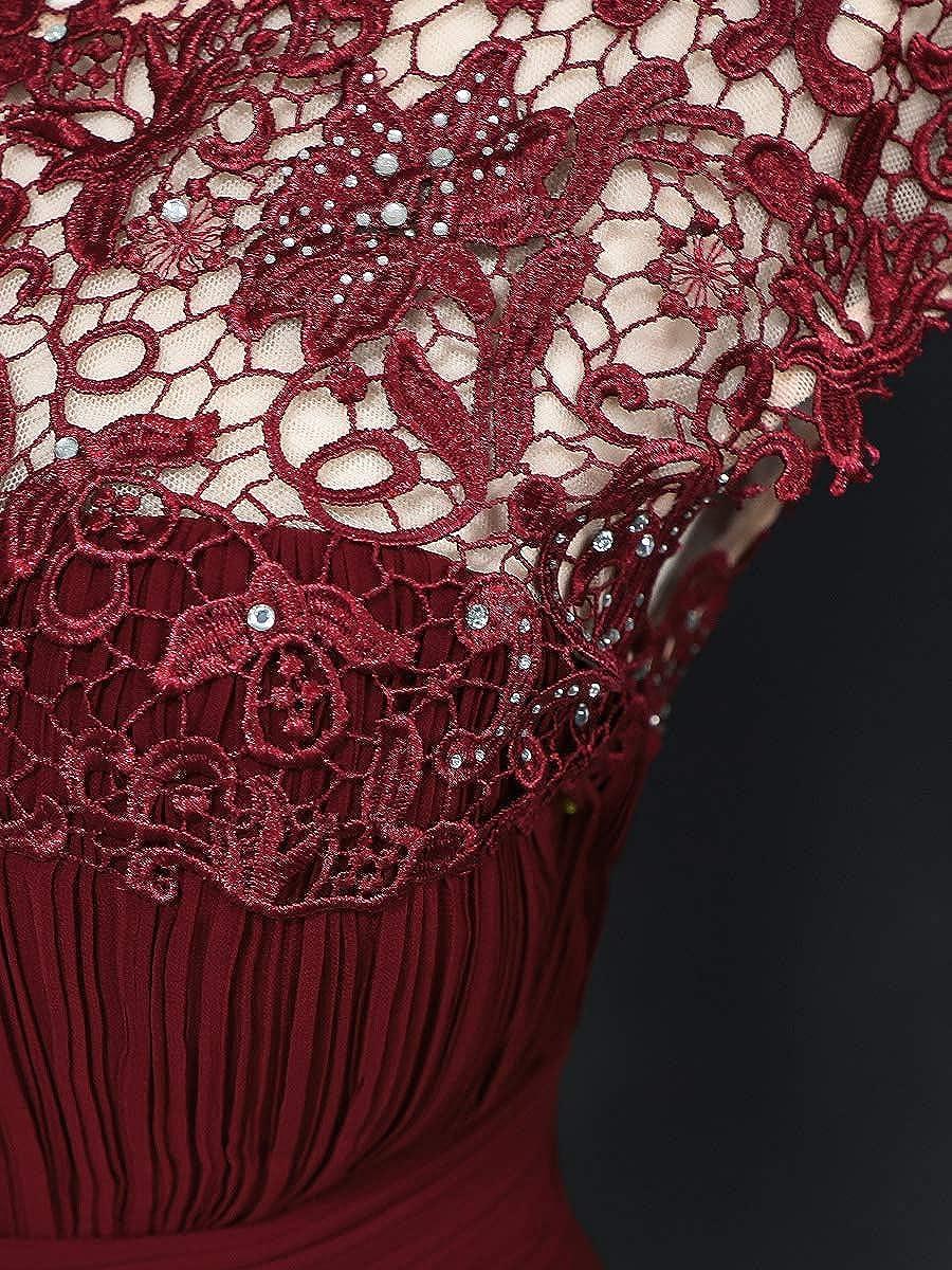 Ever-Pretty Vestito da Damigella Donna Girocollo Maniche Corte Linea ad A Pizzo Chiffon Lungo 09993