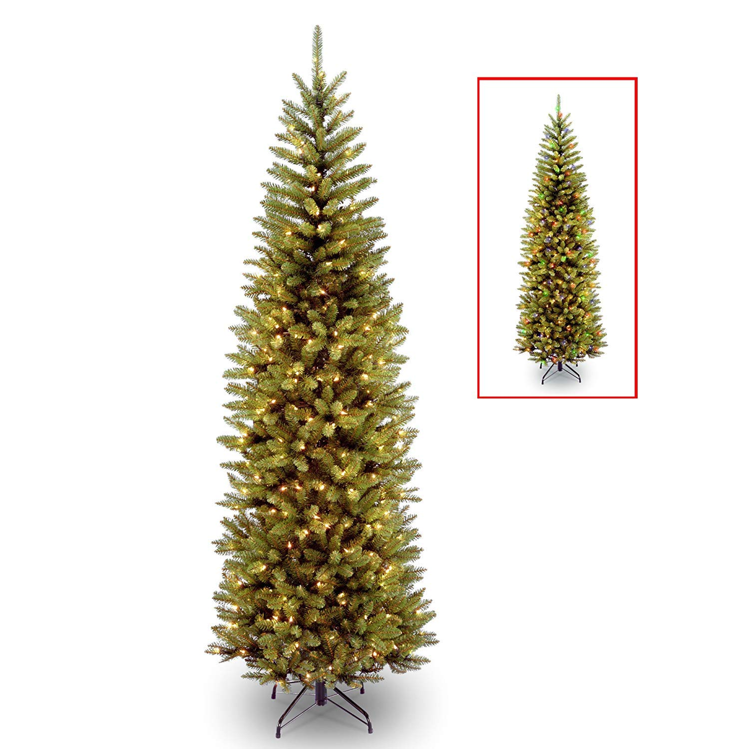 National Tree 7 Foot Kingswood Fir Pencil Tree with 250 Dual Color LED Lights with PowerConnect System, Hinged (KW7-D50-70)