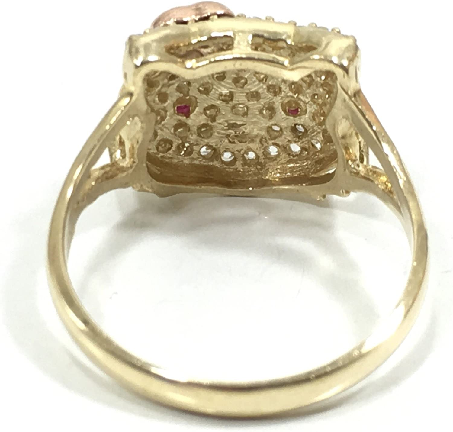 NEW 10K YELLOW GOLD 14 MM WIDE HELLO KITTY HIP HOP STYLE RING R3038