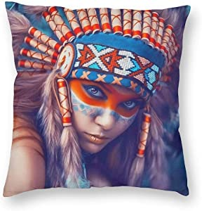 WAZHIJIA Native American Girl Decorative Throw Pillow Covers 18 X 18 Inch,Beauty Oil Painting Cotton Linen Cushion Cover Square Pillow Cases for Car Sofa Home Decor