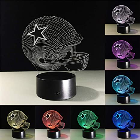 Sport acrylic 3D NFL Dallas Cowboys football 7 color led