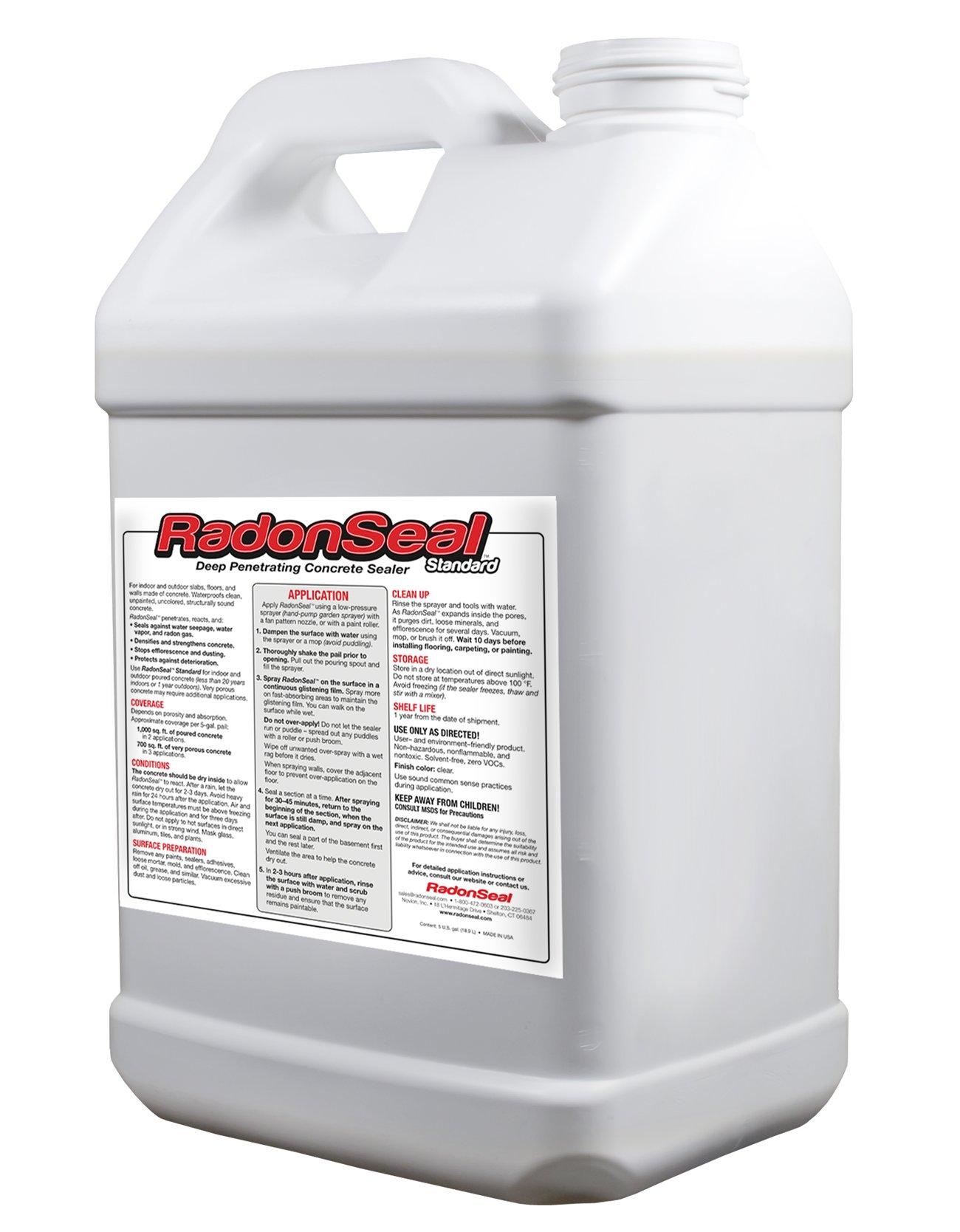 RadonSeal Standard – Deep Penetrating Concrete Sealer (2.5-gal) | Basement Waterproofing & Radon Mitigation Sealer | Seals Against Water Vapor, Water Seepage, & Radon Gas Permanently!