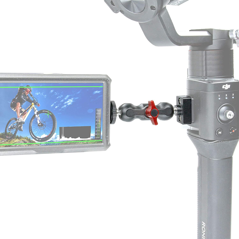 GyroVu Heavy Duty 1//4-20 Accessory Mount with Mini 360 Degree Ball Mount for DJI Ronin-S