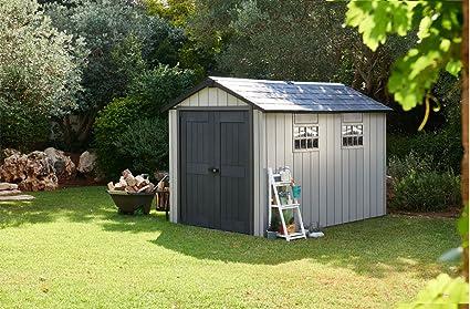 Caseta de jardín (resina, colores gris cepillado, 229 x 350 x 242 cm - pegane-: Amazon.es: Hogar