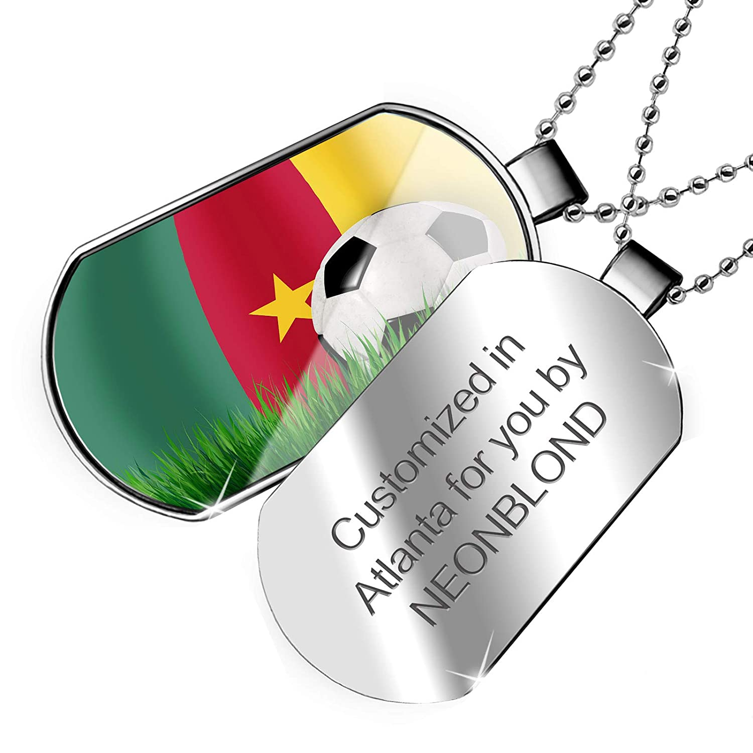 NEONBLOND Personalized Name Engraved Soccer Team Flag Cameroon Dogtag Necklace