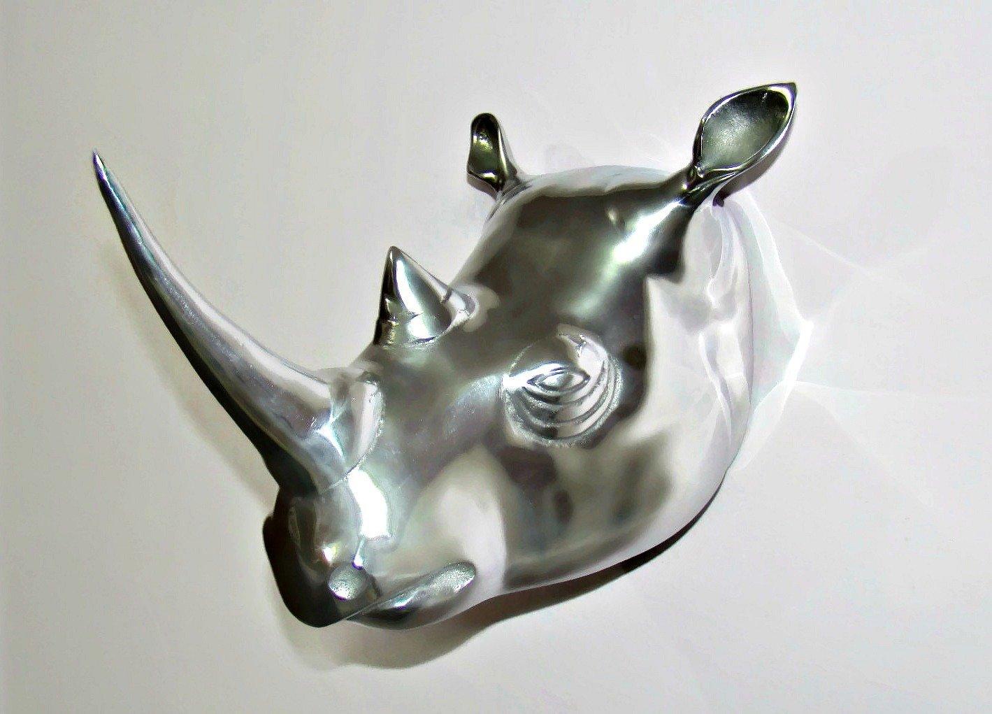 Craftvatika's LIFE SIZE taxidermy WALL MOUNTED Big Metal RHINO WALL HEAD Animal Sculpture Figurine Rhinoceros Faux (Silver Finish) craftvatika