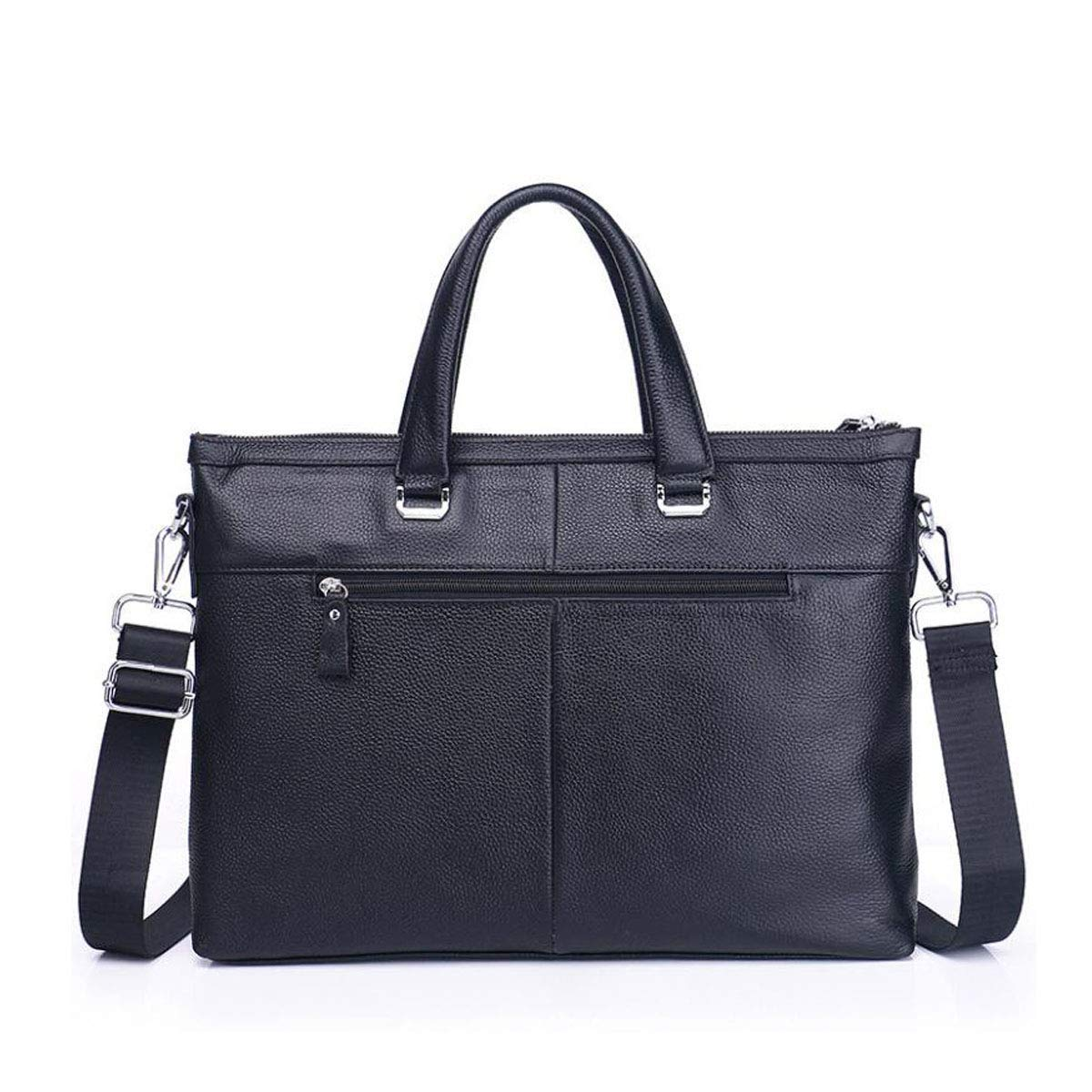 Briefcase Black Leather Mens Shoulder Messenger Bag Color : Black Color : Black Size: 38528cm Concise Suitable for All Occasions