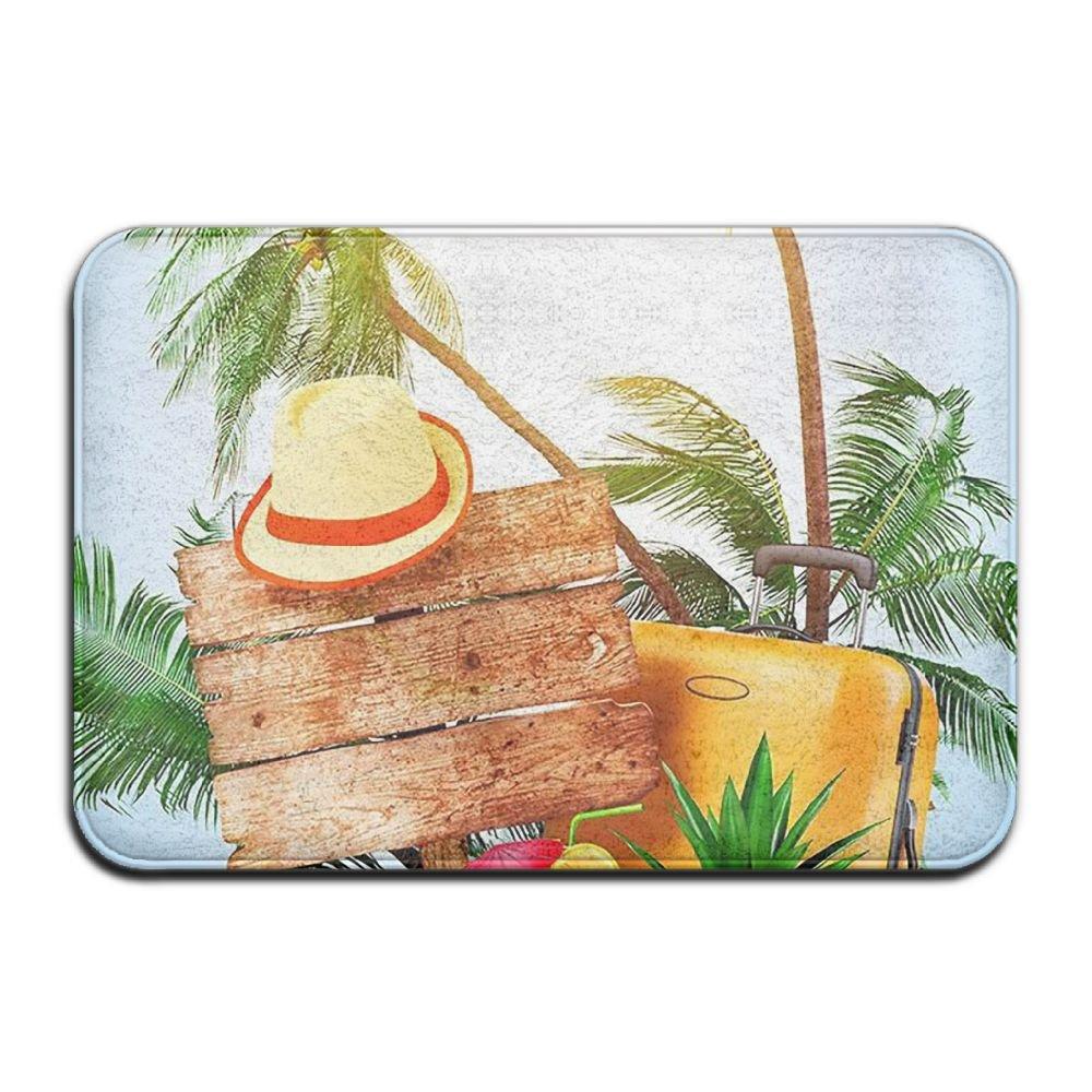 BINGO BAG Summer Beach Flip Flops Indoor Outdoor Entrance Printed Rug Floor Mats Shoe Scraper Doormat For Bathroom, Kitchen, Balcony, Etc 16 X 24 Inch