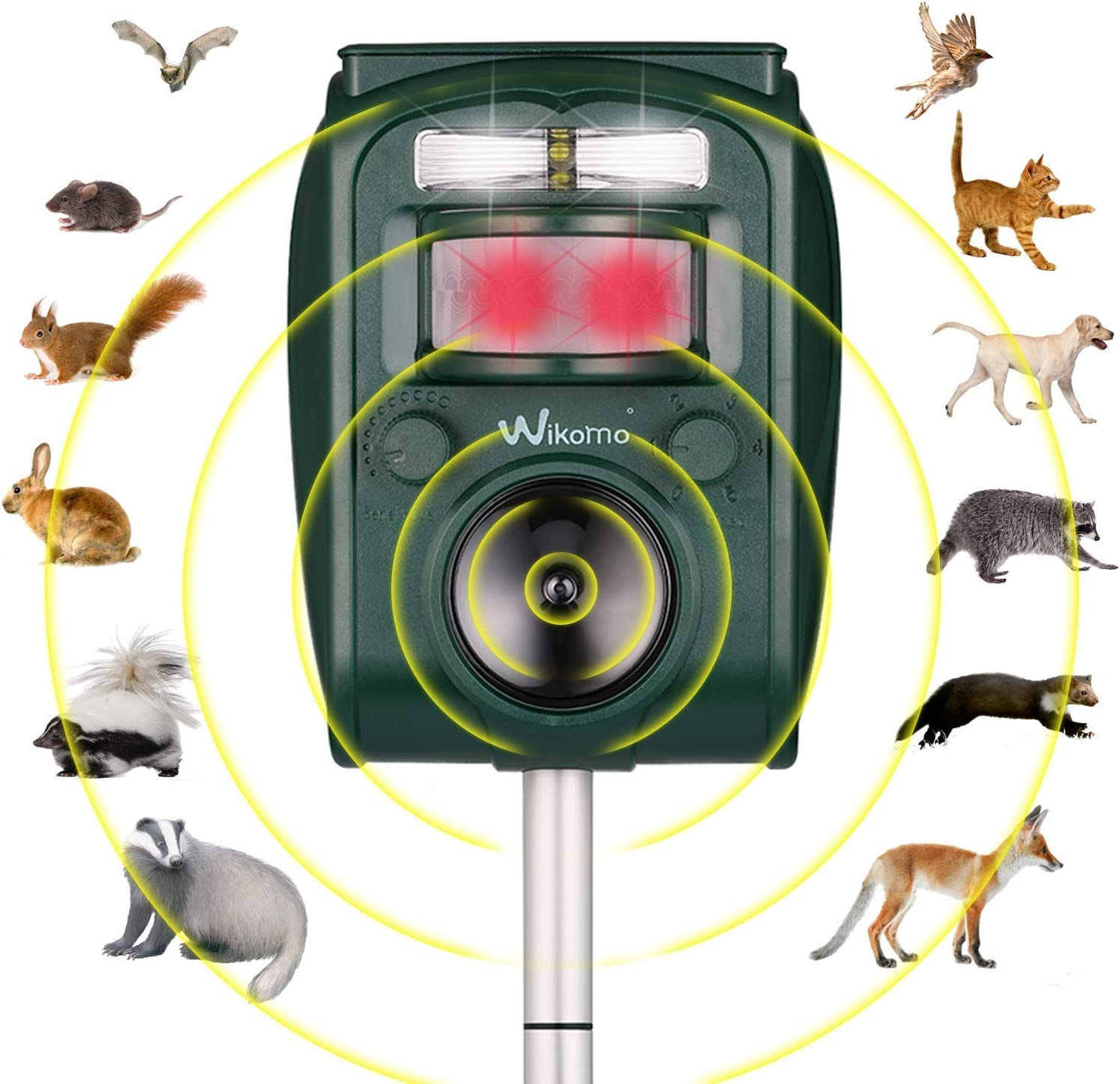 Animal Repeller, Waterproof Animal Repeller Rodent and Pest Repeller Cats, Dogs, Mice, Rabbit, Squirrel Repeller, Motion Activated and Ultrasonic Sound to Repel Animal Away