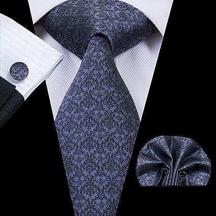 Blue Flower Patterned Handmade 100/% Silk Tie and Pocket Square Set