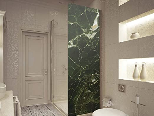 Vinilo para Mamparas Baños Textura Marmol Verde | Varias Medidas 185x70cm | Adhesivo Resistente y de Fácil Aplicación | Pegatina Adhesiva Decorativa de Diseño Elegante: Amazon.es: Hogar