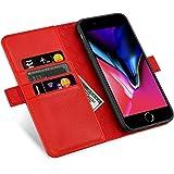 ZOVERR iPhone8 / 7 / 6 / 6s 手帳型 マグネット式 磁気吸着 本革なカバー アイフォン6/7/8全面保護 スタンド機能 カード収納 耐汚れ 耐衝撃 ギフトボックス(4.7インチ レッド)Red