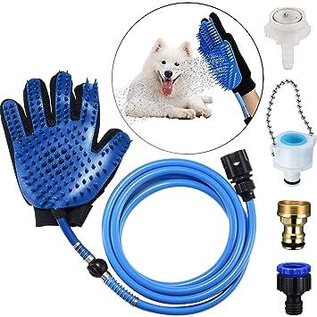 YGZN Herramienta de baño para Mascotas de baño manopla,Masaje Grooming Interior/Exterior Uso para la Limpieza de su Perro, Gato, Caballo (Blue Glove)