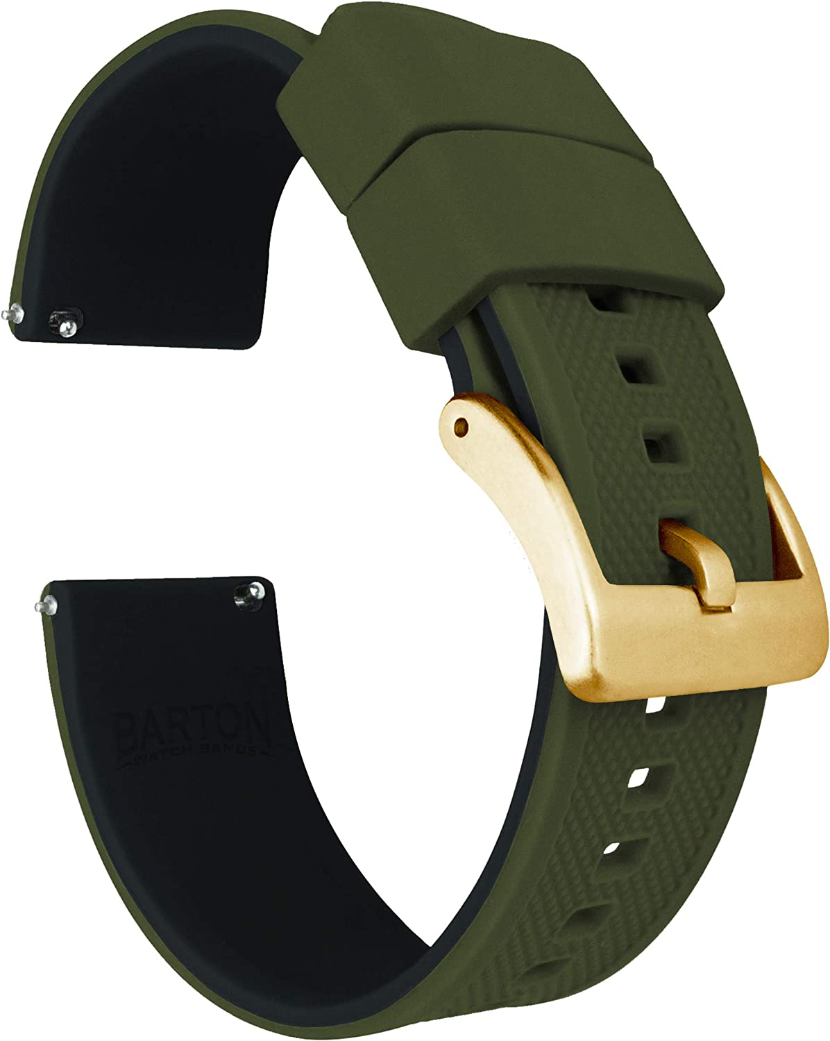 Barton Elite Silicone Watch Bands - Gold Buckle Quick Release - Choose Color - 18mm, 19mm, 20mm, 21mm, 22mm, 23mm & 24mm Watch Straps