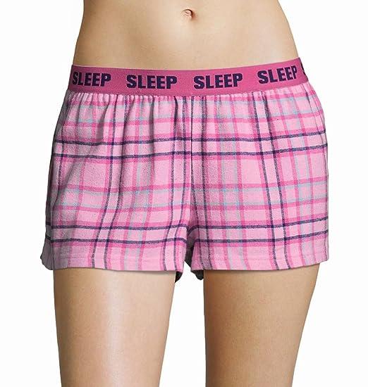 b004f26d7bb Sleep & Co Womens Pajama Lounge Shorts with Plaid Print and Elastic  Waistband Pink Medium