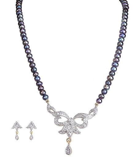 acc90d1ae081b Buy DD PEARLS Traditional Black Freshwater Pearl Necklace Leaf Cut ...
