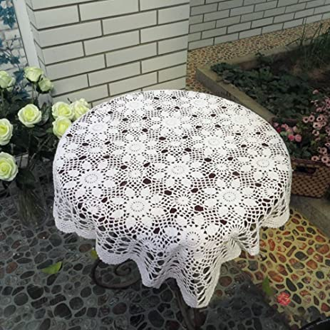 Yazi Handmade Tablecloth Crochet Square Sofa Doilies Rustic Floral Cotton Table  Cloths For Dining Room 43.3