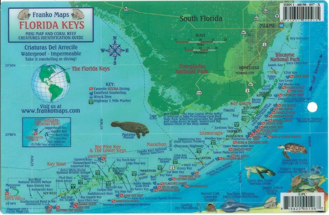 Map Florida Keys.Florida Keys Dive Map Reef Creatures Guide Franko Maps Laminated