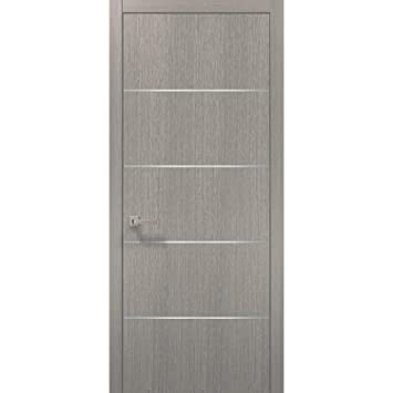 Buy Modern Wood Interior Door 36 X 96 With Hardware Planum 0020 Grey Oak Single Pre Hung Panel Frame Trims Bathroom Bedroom Sturdy Doors Online At Low Prices In India Amazon In