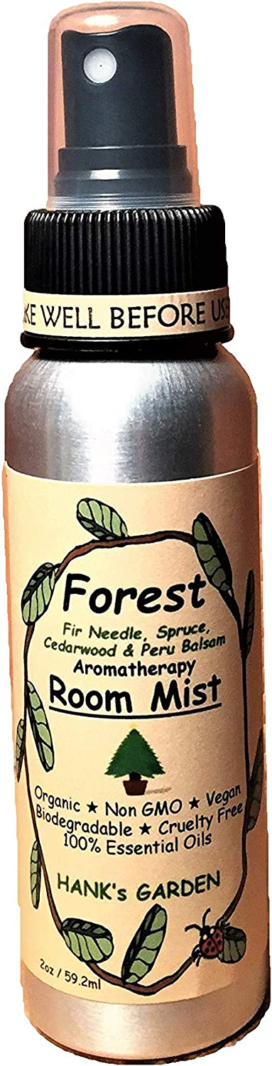 Hank's Garden Forest Aromatherapy Room Spray Mist - Fir Needle, Spruce, Cedarwood & Peru Balsam - Smells Like Evergreen Trees - Vegan, Organic, Biodegradable, Non GMO, Cruelty Free (2 oz / 59.2 ml)