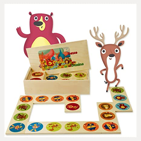 Domino Animali Marini Il domino gioco da tavolo con tessere e scatola di legno per bambini. Dida
