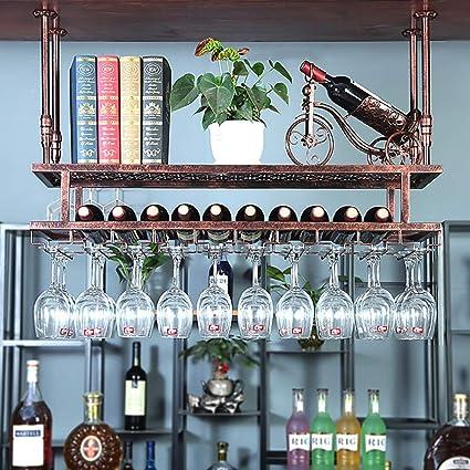 wivarra Percha de Copa de Vino de Acero Inoxidable Estante de Vidrio de Vino Bajo Soporte de Vasos Armario los Ganchos de Doble Colgante del Gabinete Pueden Contener de 2 a 6 Tazas