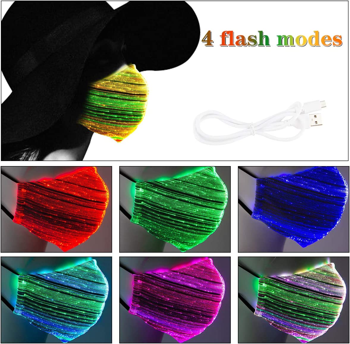 7 Colors Luminous Glowing Costume Mask for Halloween Christmas Parties Festival Rave Masquerade Costumes 4 Flash Modes 1 Pieces Grey LED Light UP Costumes Mask
