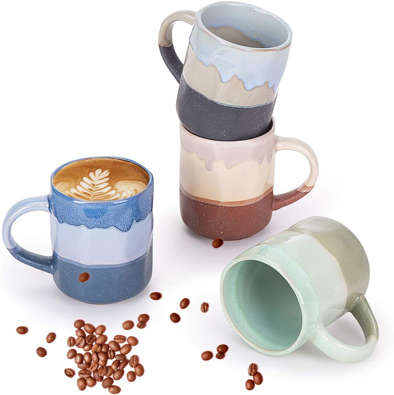 Cutiset 15 Ounce Ceramic Lava mugs, Unique glazed Microwave safe and Oven safe Coffee mug set of 4, Multicolor