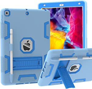 CCMAO Case for iPad 8th Generation, iPad 7th Generation Case, Hybrid Three Layer Armor Shockproof Rugged Drop Protection Built with Kickstand [Pencil Holder] Case for iPad 10.2 2020 (Light Blue)