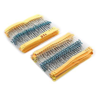 1//2W Metal Film Resistors Assorted kit 56 Values 5/% 1120pcs 1 ohm~ 10M ohm