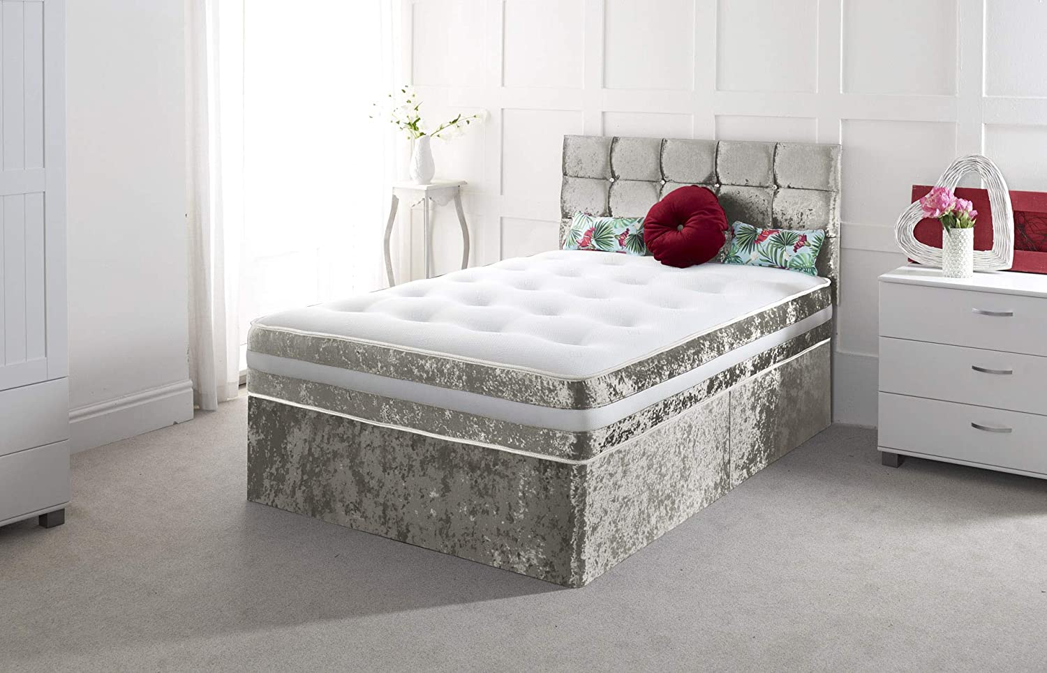 """NEW CRUSHED VELVET DIVAN BED WITH MATCHING MATTRESS AND FREE 20/"""" 4FT6 DOUBLE 5FT"""